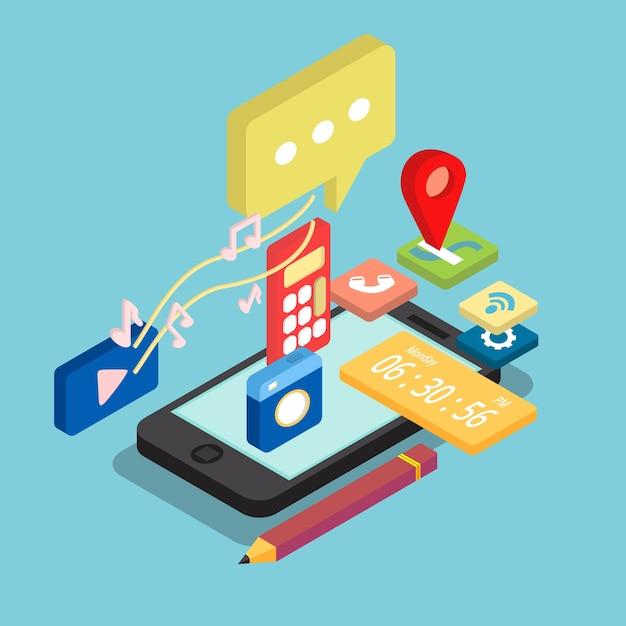 Conception d'applications de téléphonie mobile isométrique Vecteur gratuit