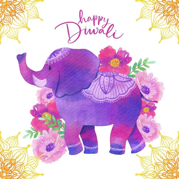 Conception Aquarelle Diwali Avec éléphant Vecteur gratuit