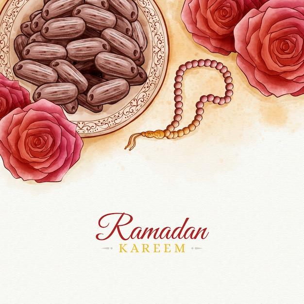 Conception Aquarelle Ramadan Kareem Vecteur gratuit