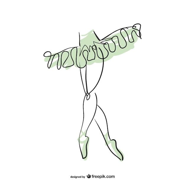 Conception d'art de la ligne de ballerine Vecteur gratuit