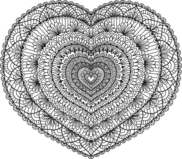 Conception D'art En Ligne En Forme De Coeur Pour Livre De Coloriage, Coloriage Ou Impression Sur Des étoffes. Illustration. Vecteur Premium