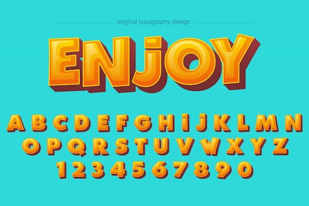 Conception audacieuse chaude de typographie comique orange biseau Vecteur Premium