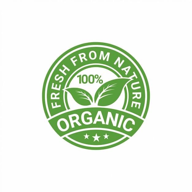 Conception D'autocollant Naturel 100% Organique Vecteur Premium