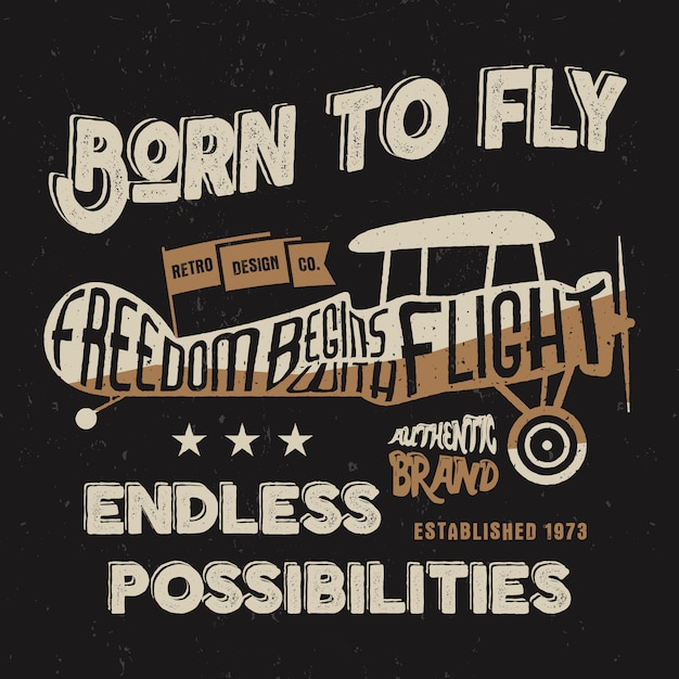 Conception d'avion vintage pour t-shirt, autres imprimés. typographie ancienne graphique de style. Vecteur Premium