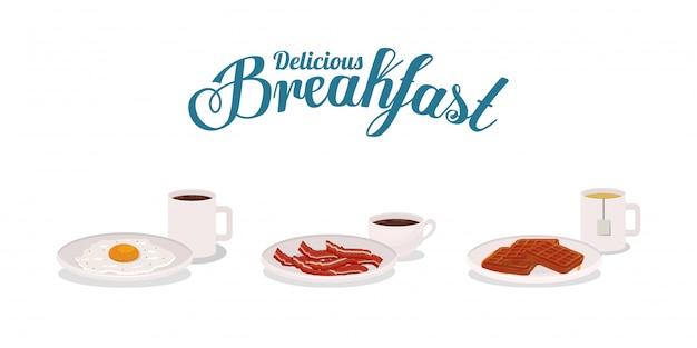 Conception De Bacon Et De Gaufres Au Petit Déjeuner, Repas Alimentaire Produit Frais Premium Du Marché Naturel Et Thème De Cuisine Illustration Vectorielle Vecteur Premium