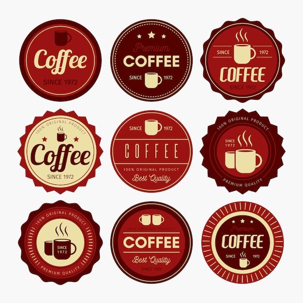 Conception De Badge à Café Vecteur Premium