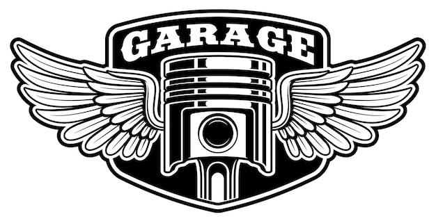 Conception De Badge Motard Avec Piston Vecteur Premium