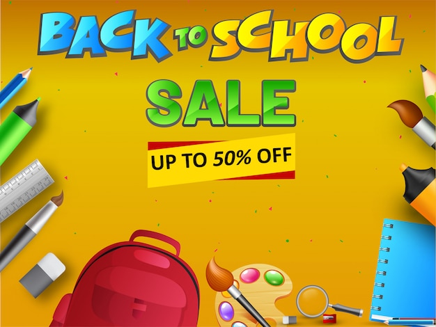 Conception de bannière ou d'affiches back to school sale avec 50% de réduction Vecteur Premium