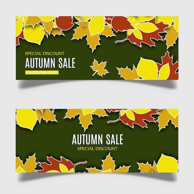 Conception de bannière automne vecteur coloré Vecteur gratuit
