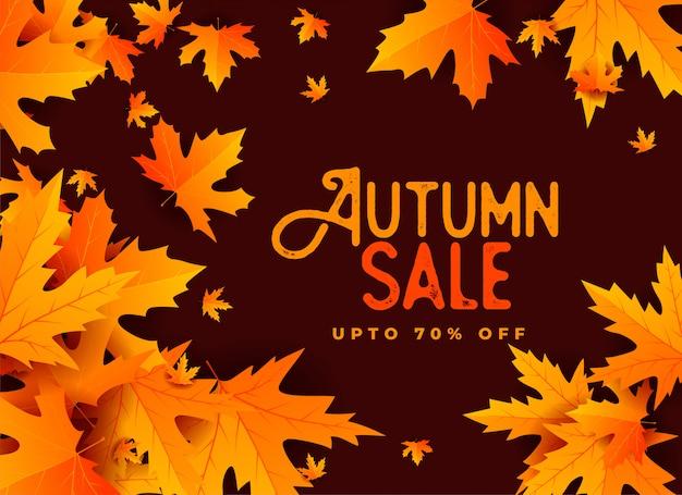 Conception de bannière automne vente avec des feuilles Vecteur gratuit