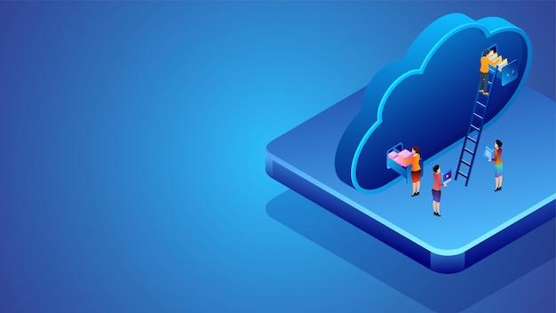 Conception de bannière basée sur le concept de stockage en nuage. Vecteur Premium