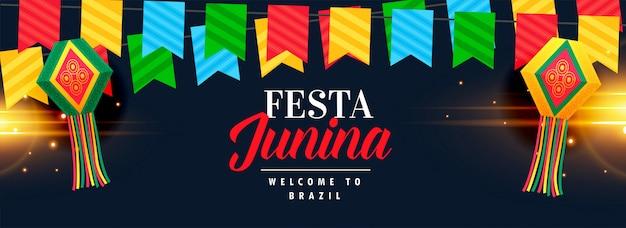 Conception de bannière de célébration festa junina Vecteur gratuit