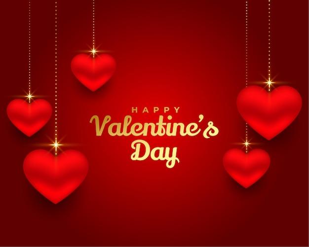 Conception De Bannière De Coeurs 3d Heureux Saint Valentin Vecteur gratuit