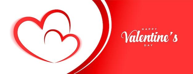 Conception De Bannière De Coeurs Heureux Saint Valentin Vecteur gratuit