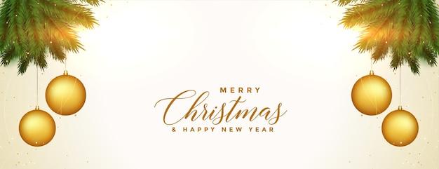 Conception De Bannière De Festival D'or Décoratif Joyeux Noël Vecteur gratuit