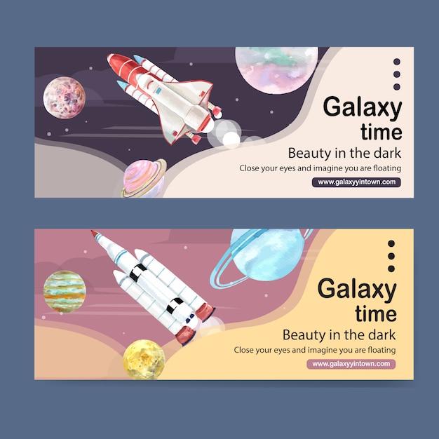 Conception de bannière de galaxie avec illustration aquarelle de fusée et planètes. Vecteur gratuit
