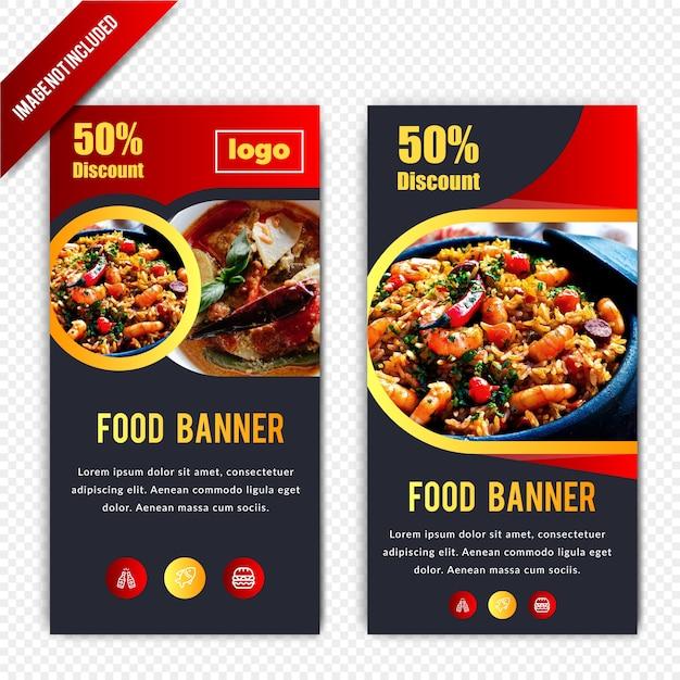 Conception de bannière horizontale de remise de nourriture Vecteur Premium