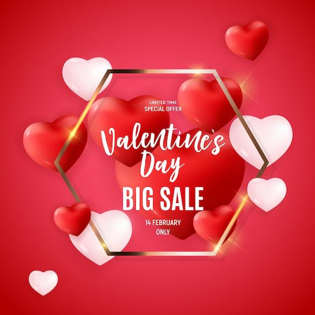 Conception De Bannière Love And Feelings Sale De Saint Valentin. Vecteur Premium