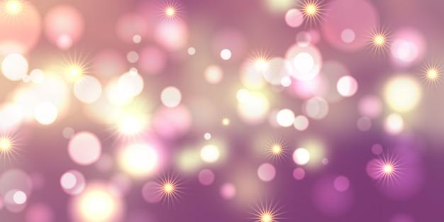 Conception de bannière de lumières et étoiles de bokeh Vecteur gratuit