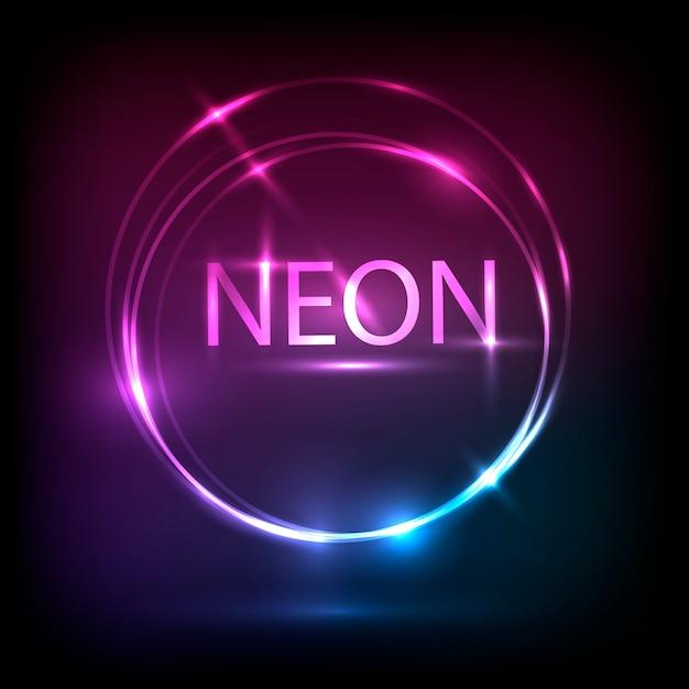 Conception de bannière néon cirlce. Vecteur Premium