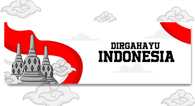 Conception De Bannière De Paysage Du Jour De L'indépendance De L'indonésie Vecteur Premium