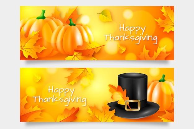 Conception De Bannière Pour Le Jour De Thanksgiving Vecteur gratuit
