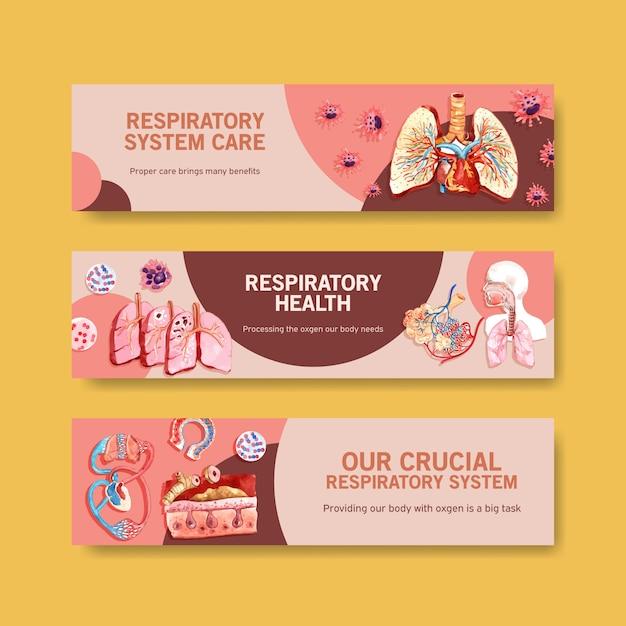 Conception De Bannière Respiratoire Avec Anatomie Humaine Du Poumon Vecteur gratuit