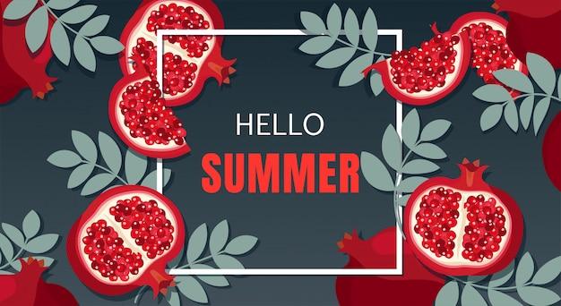 Conception de bannière de vacances d'été. Vecteur Premium