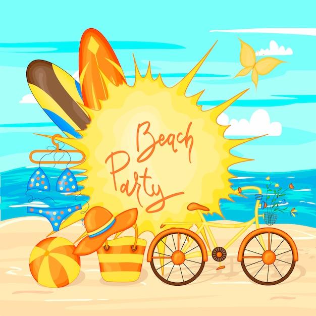 Conception de bannière de vecteur de l'heure d'été et éléments de plage colorée de la mer et du sable. illustration vectorielle Vecteur Premium