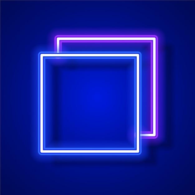 Conception de bannière vecteur néon carré. conception de bannière de modèle bleu. Vecteur Premium