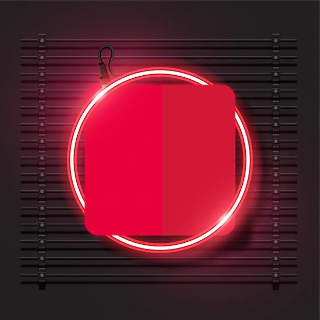 Conception de bannière de vecteur de néon moderne. modèle rouge arrondi. Vecteur Premium