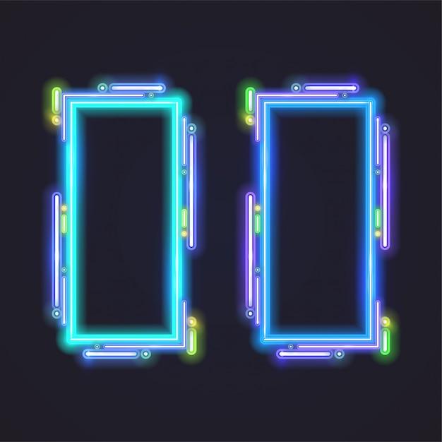 Conception de bannière de vecteur de néon rectangle. modèle bleu. Vecteur Premium