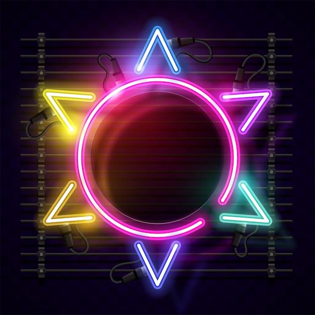 Conception de bannière vecteur soleil néon. conception de bannière de modèle. Vecteur Premium