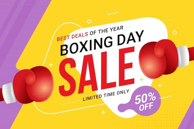 Conception de bannière de vente boxing day avec offre de réduction Vecteur Premium
