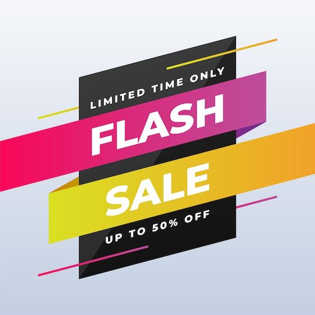Conception de bannière de vente flash moderne sur blanc Vecteur Premium