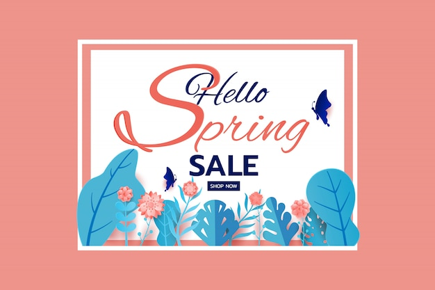 Conception de bannière de vente de printemps laisse fleur et papillon. Vecteur Premium