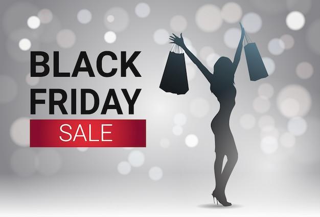 Conception de bannière vente vendredi noir avec silhouette femme sur fond blanc vacances fond bokeh Vecteur Premium