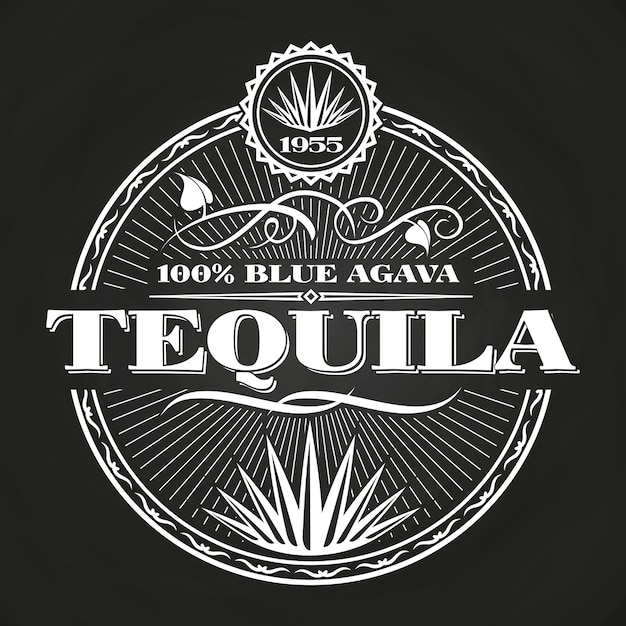 Conception de bannière vintage tequila sur tableau noir Vecteur Premium