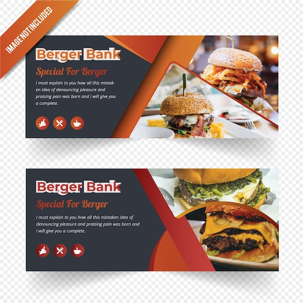 Conception de bannière web burger food Vecteur Premium