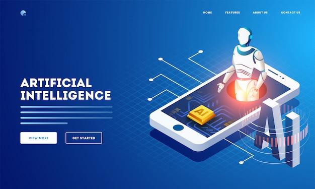 Conception de bannière web ou de page de destination basée sur le concept d'intelligence artificielle avec illustration isométrique du robot humanoïde et de la puce ai sur l'écran du smartphone. Vecteur Premium