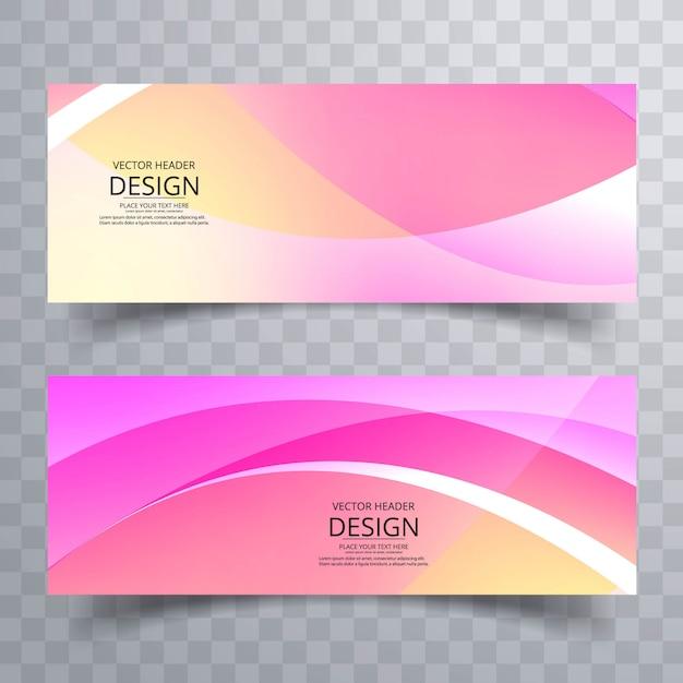 Conception de bannières abstraites colorées ondulées Vecteur Premium
