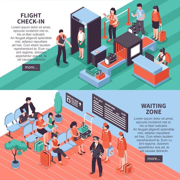 Conception De Bannières Isométriques Départ Aéroport Vecteur gratuit