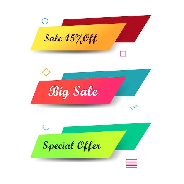 Conception de bannières de vente coloré abstrait Vecteur gratuit