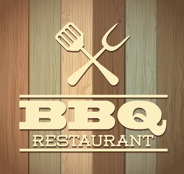 Conception de barbecue au cours de l'illustration vectorielle fond en bois Vecteur Premium