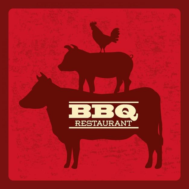 Conception de barbecue au cours de l'illustration vectorielle fond rouge Vecteur Premium