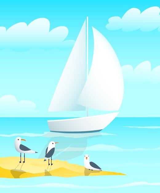 Conception De Bateau De Yacht A Voile Avec Des Mouettes Et Dessin Anime De Bord De Mer Vecteur Premium
