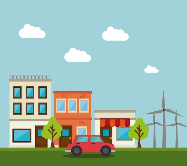 Conception de bâtiments Vecteur Premium