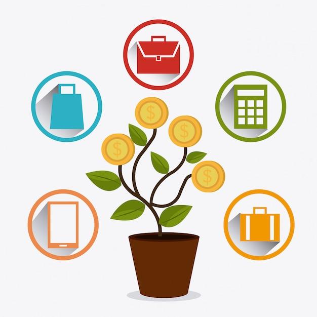 Conception de bénéfices commerciaux. Vecteur Premium
