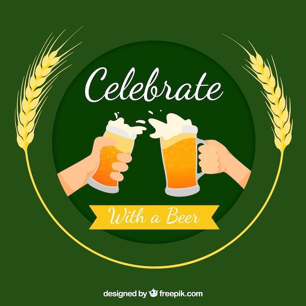 Conception de la bière verte Vecteur gratuit