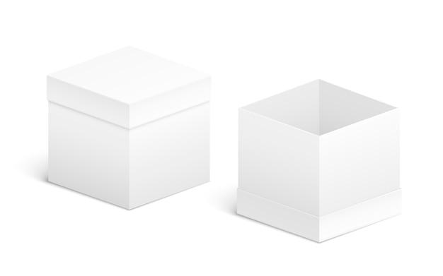 Conception de boîte ouverte et fermée. objets blancs sur blanc Vecteur Premium